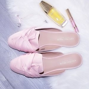 Pink Satin Flats Mules Loafers Bow Toe 13 Ladies